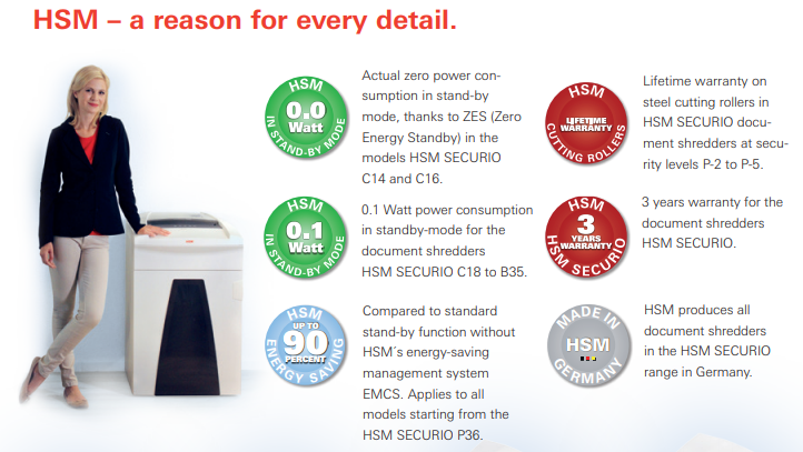 HSM Shredders Certifications & Features